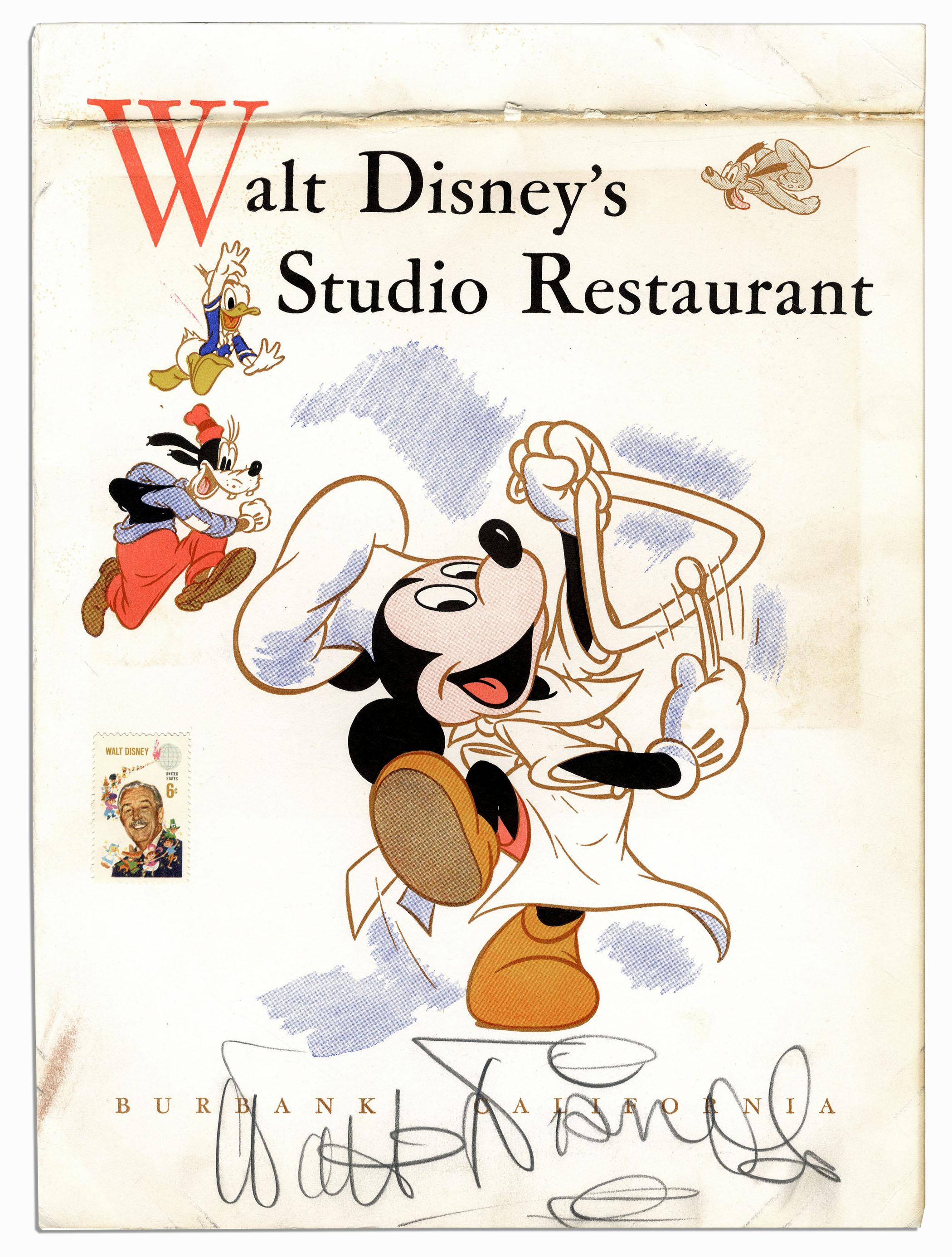 Walt Disney Autograph Walt Disney Signed Menu From the Disney Studio Restaurant -- With Phil Sears COA