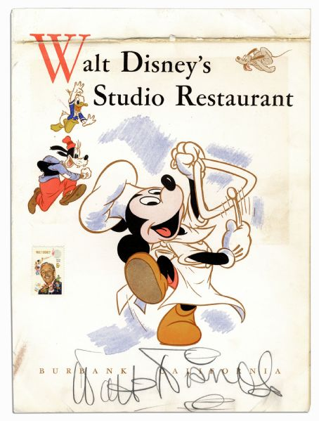 Walt Disney Signed Menu From the Disney Studio Restaurant -- With Phil Sears COA