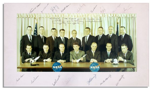 Incredible Photo Display Signed by All NASA Astronaut Groups 1 & 2 -- The Mercury 7 & The New Nine, Including Neil Armstrong