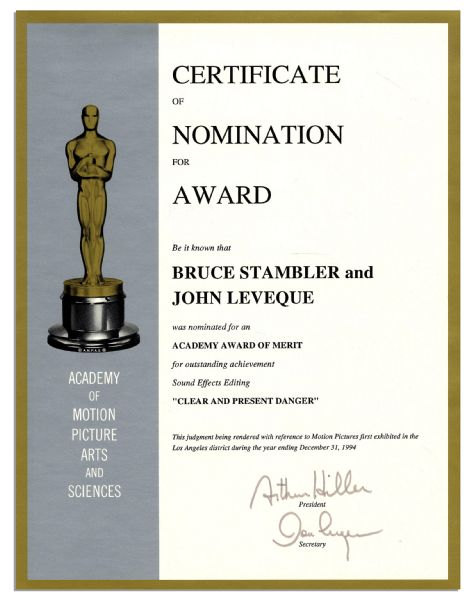 Academy Award Nomination for Sound Effects Editing From the 1994 Film ''Clear And Present Danger''