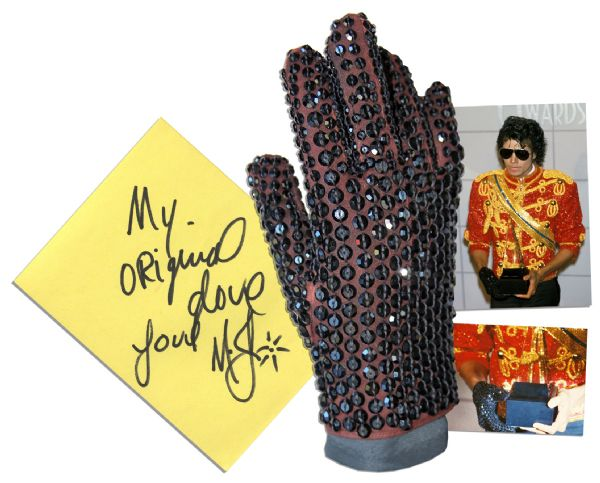 Michael Jackson glove auction Michael Jackson's Famous Crystal-Encrusted Glove -- Worn by the King of Pop at the 1984 American Music Awards Honoring His Achievements on ''Thriller'' -- With Autograph Book Signed Four Times