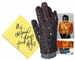 Michael Jacksons Famous Crystal-Encrusted Glove -- Worn by the King of Pop at the 1984 American Music Awards Honoring His Achievements on Thriller -- With Autograph Book Signed Four Times