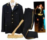 Stage Costume Worn by Michael Jackson at the 1986 American Music Awards -- Worn During the Performance of We Are The World -- With His Makeup Still on the Collar of the Shirt