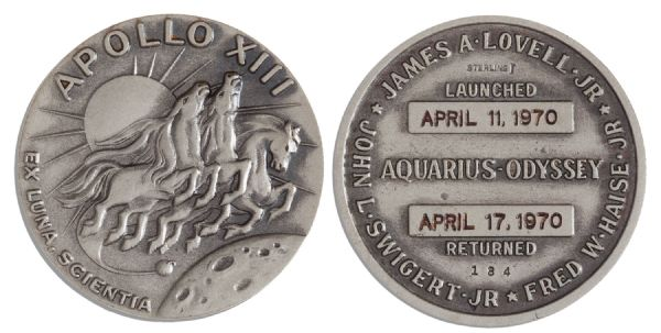Scarce Sterling Silver Apollo 13 Flown Robbins Medal -- With LOA From Mission Commander James Lovell -- From James Lovell's Personal Collection