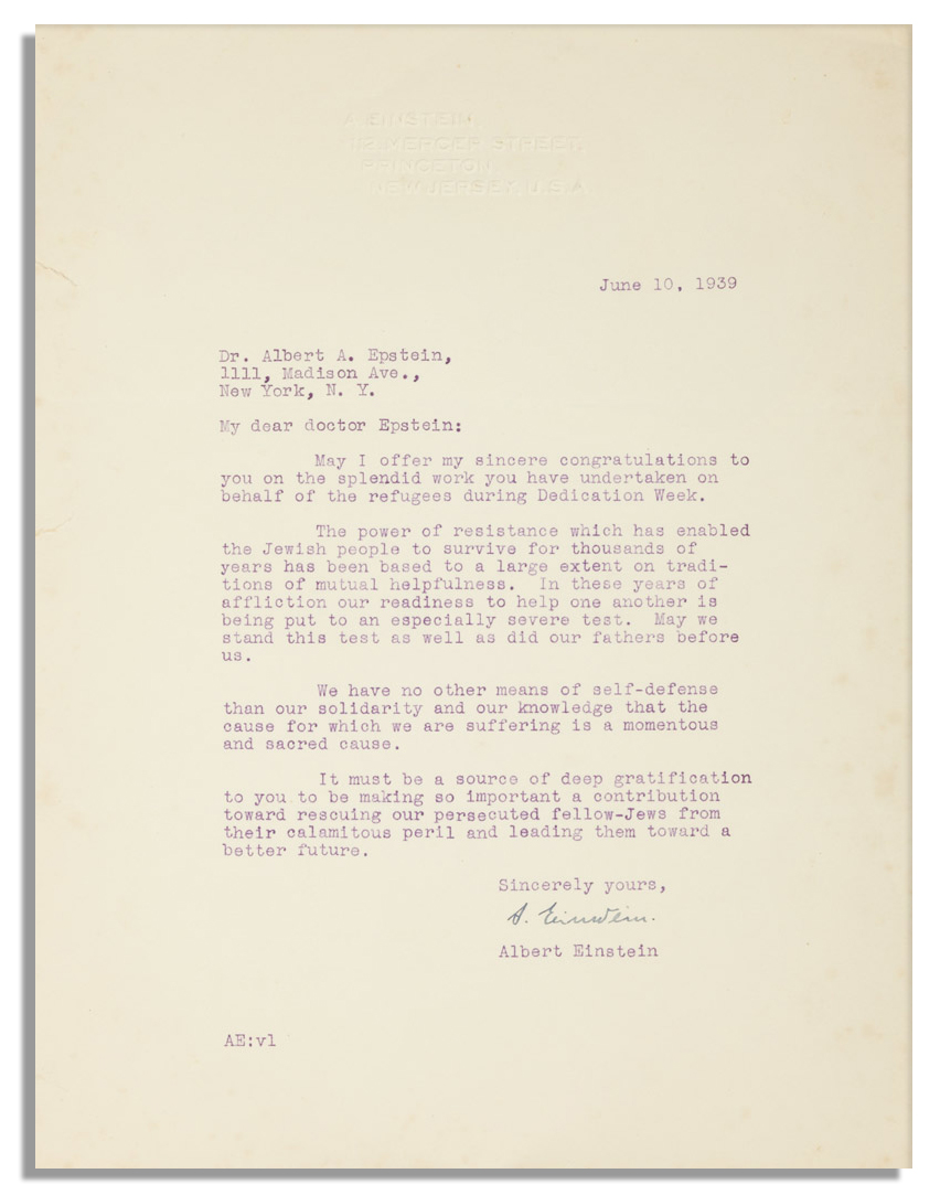 Judaica memorabilia Albert Einstein Letter Signed From 1939 -- Defending His Jewish Heritage -- ''...The power of resistance which has enabled the Jewish people to survive for thousands of years...''