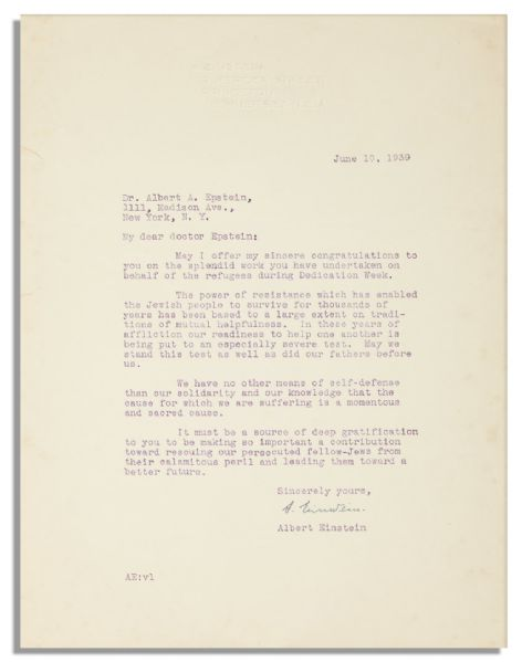 albert einstein autograph Albert Einstein Letter Signed From 1939 -- Defending His Jewish Heritage -- ''...The power of resistance which has enabled the Jewish people to survive for thousands of years...''