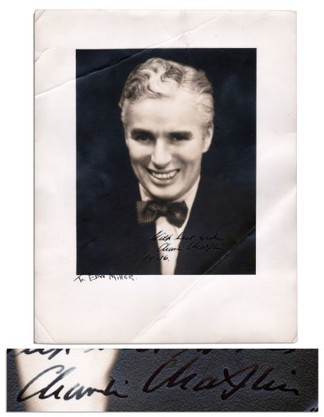 Charlie Chaplin Signed 11'' x 14'' Photo From 1936