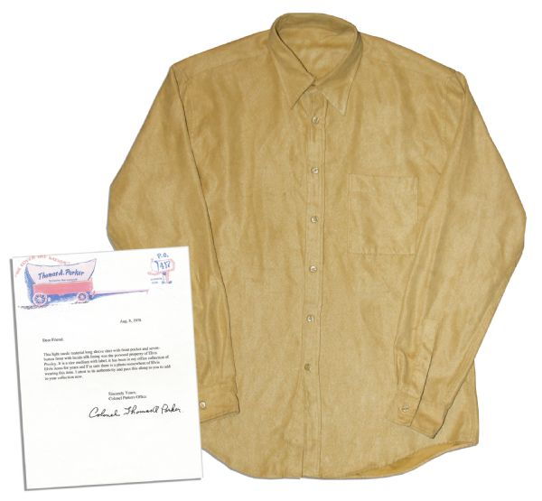 Elvis Presley Worn Costume Auction Elvis Presley Worn and Owned Suede Shirt -- With LOA by Elvis' Manager Colonel Tom Parker