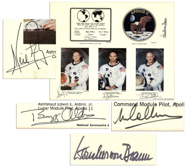 Apollo 11 Astronauts Signed Photo -- Neil Armstrong, Michael Collins, Buzz Aldrin and Werner von Braun-- With PSA/DNA COA