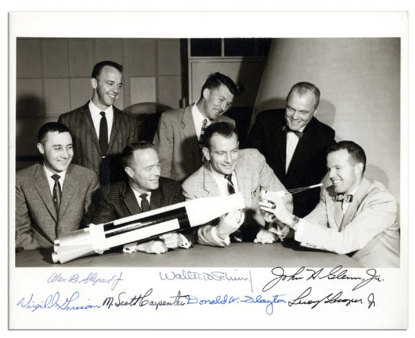 Original Mercury 7 Signed Photo -- Signed by All 7 Astronauts -- From the Gus Grissom Collection