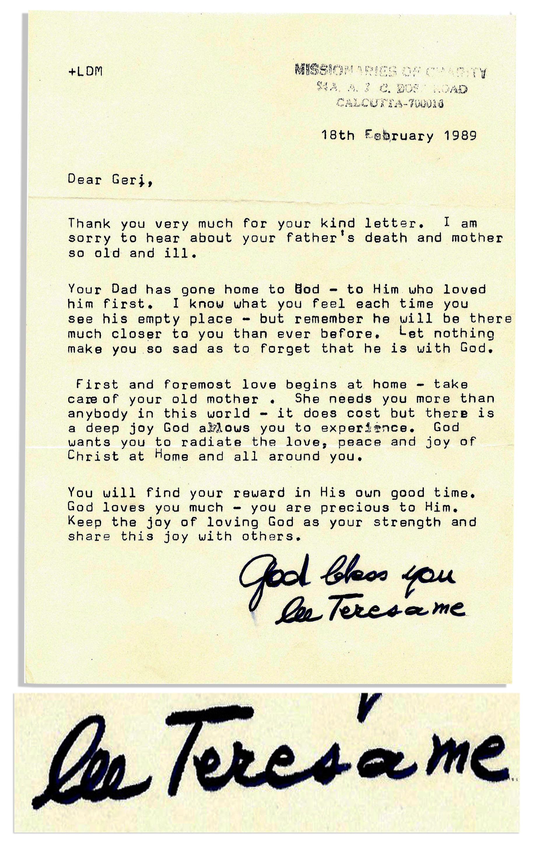 Mother Teresa Typed Letter Signed    U0027u0027Keep The Joy Of Loving God As