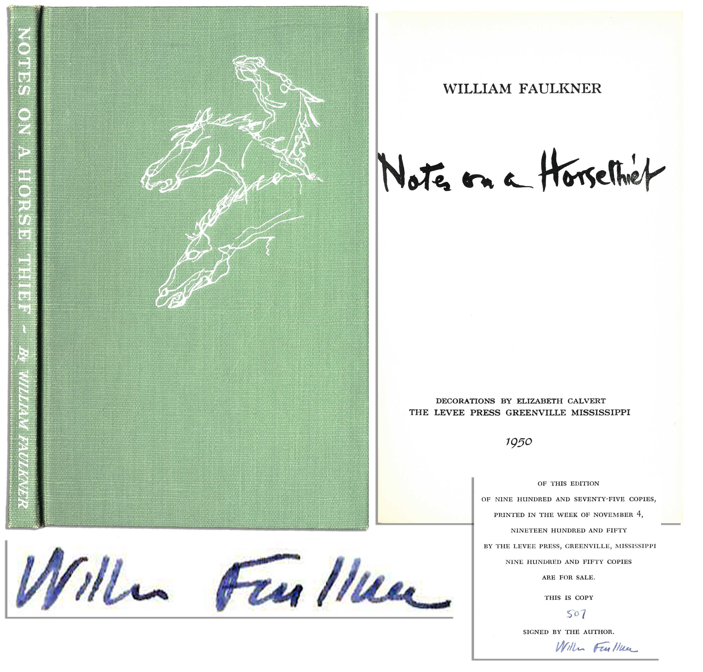 William Faulkner first edition William Faulkner Signed ''Notes on a Horse Thief'' -- Rare First Edition of Only 950 Copies Signed by Faulkner