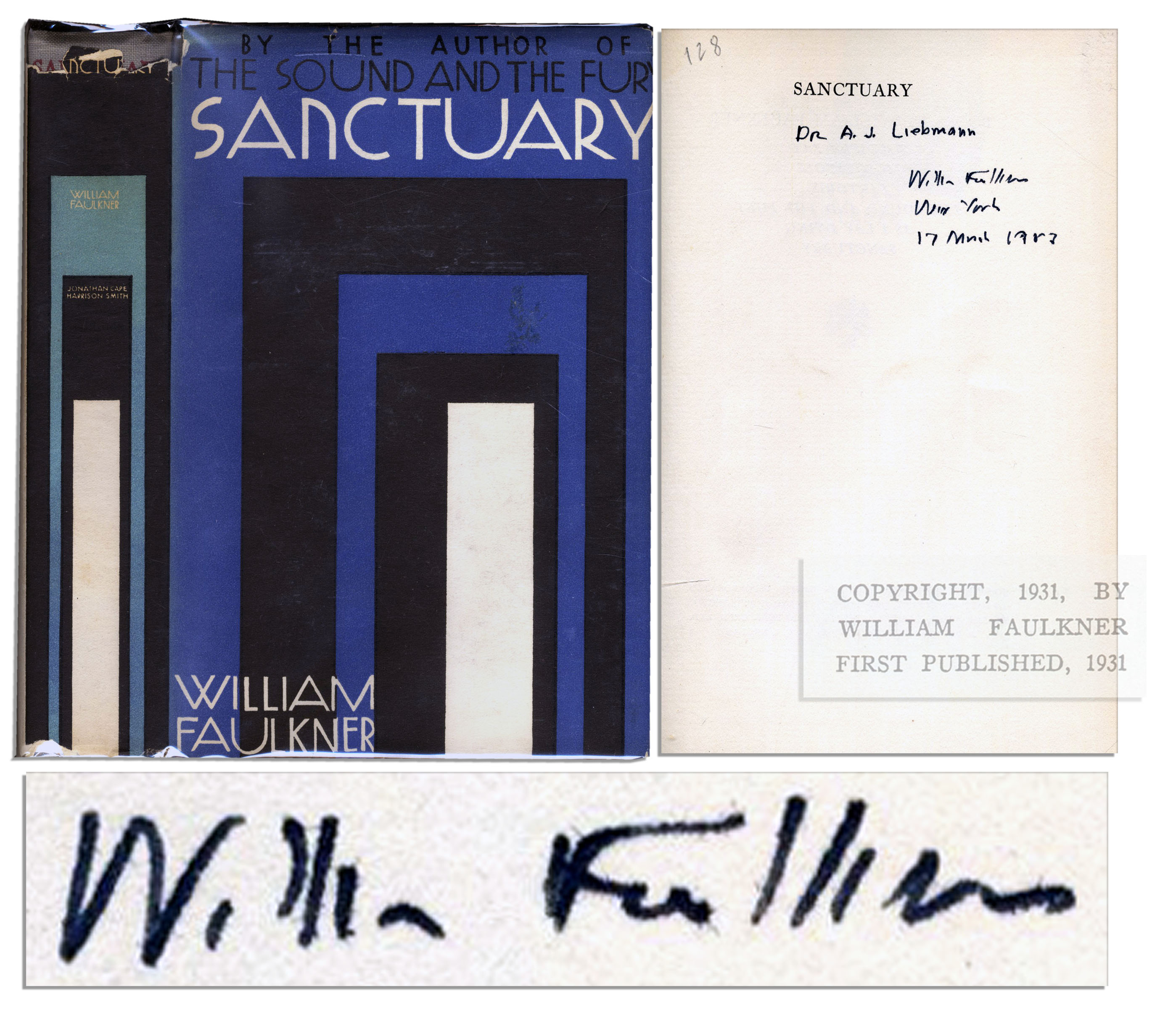 William Faulkner first edition William Faulkner's Signed ''Sanctuary'' First Edition, First Printing -- In Scarce, Original Dustjacket