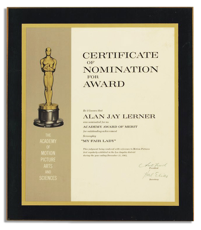 Lot Detail - Academy Award Nomination Certificate for ''My ...