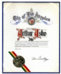 Certificate Creating Arthur Ashe Day in Los Angeles From Ashes Personal Estate -- Signed by The 1976 Mayor of LA