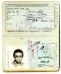 Arthur Ashe 1970 Passport -- Containing The Stamp From His Historic First Entry Into Apartheid South Africa