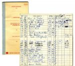 Arthur Ashes 1969-71 Personal Check Ledger