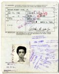 Arthur Ashes Passport, Issued 1975 -- With Original Signed Passport Photo of the Tennis Legend Intact