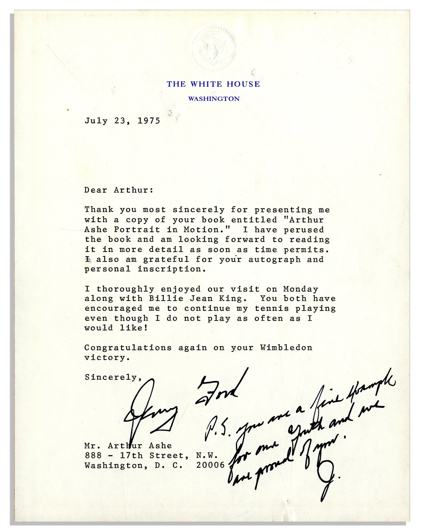 lot detail gerald ford presidential letter signed with postscript