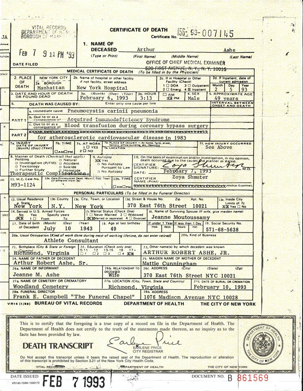 Lot Detail Arthur Ashes Death Certificate