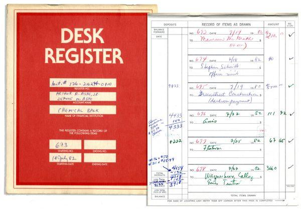 lot detail arthur ashe s checkbook register