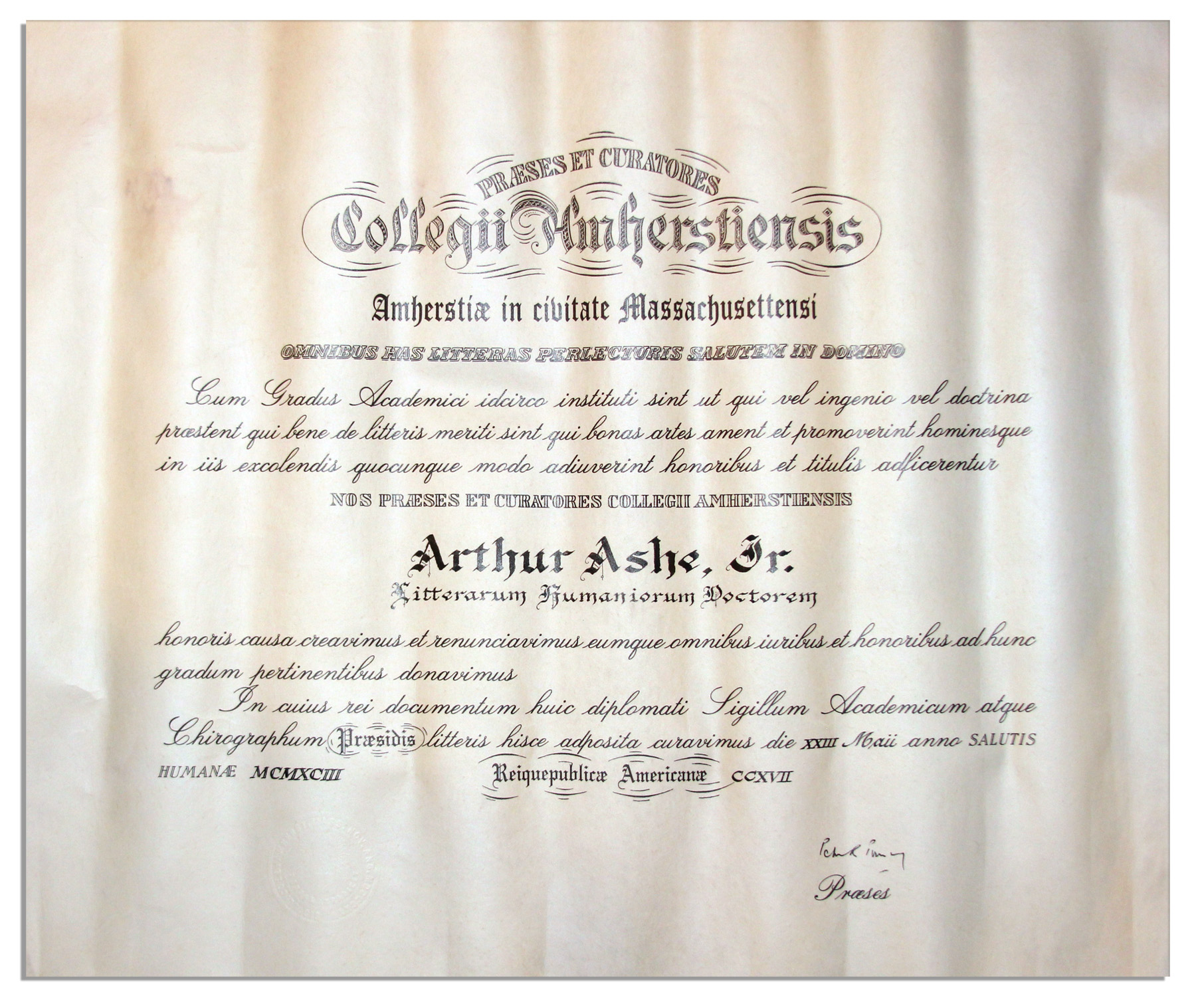 lot detail amherst college degree awarded to arthur ashe