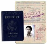 Arthur Ashes 1980-85 U.S. Passport -- With Original Signed Passport Photo Intact
