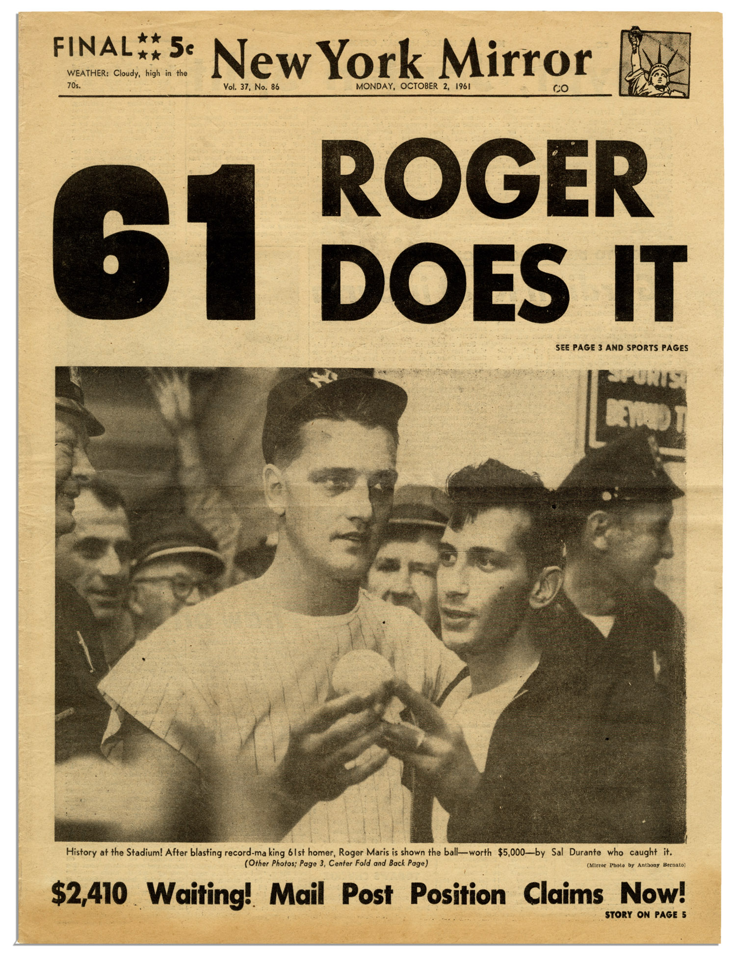 Lot Detail Roger Maris Breaks Babe Ruth S Record