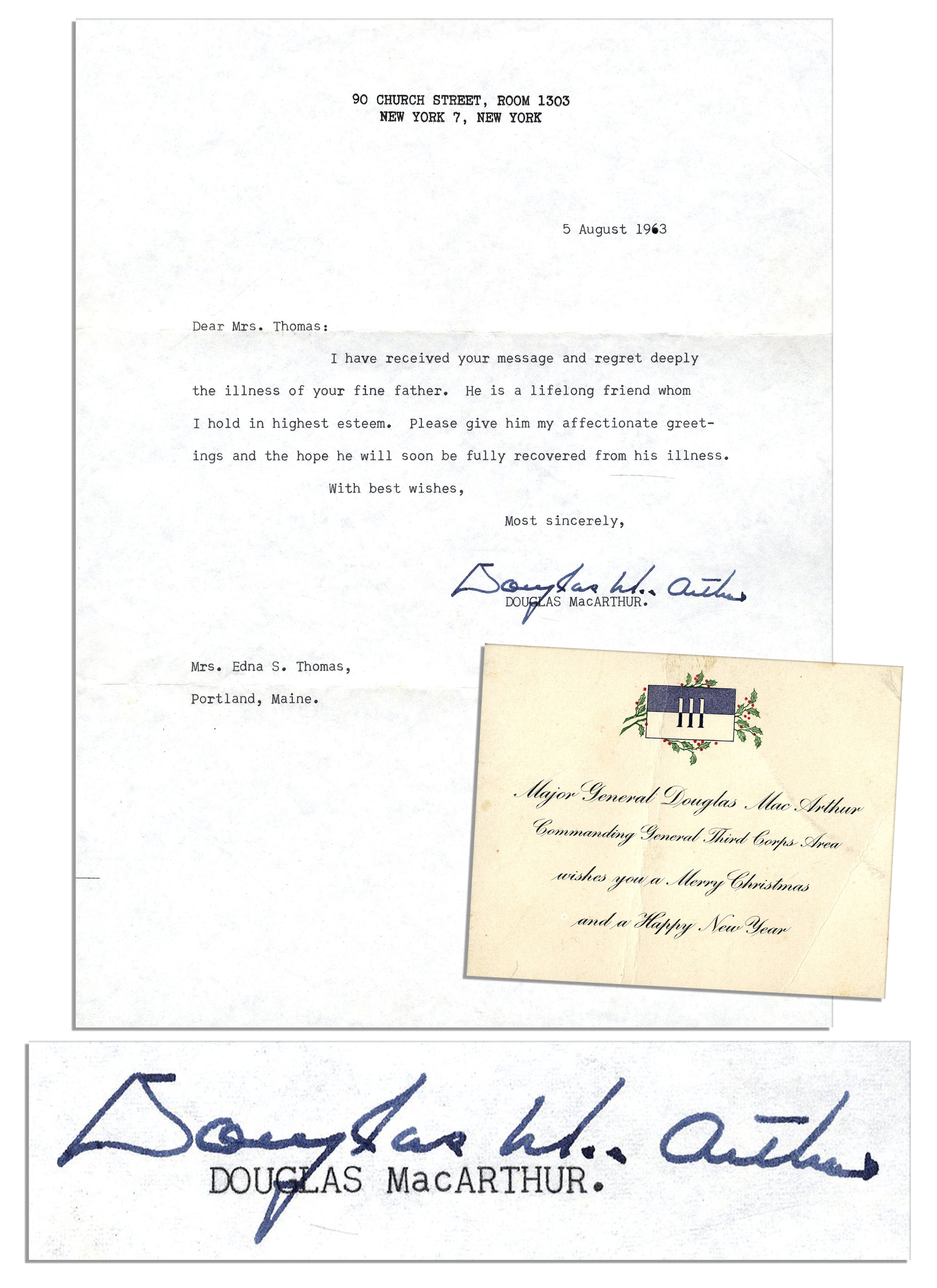 Lot Detail - Douglas MacArthur Typed Letter Signed & Christmas Card ...