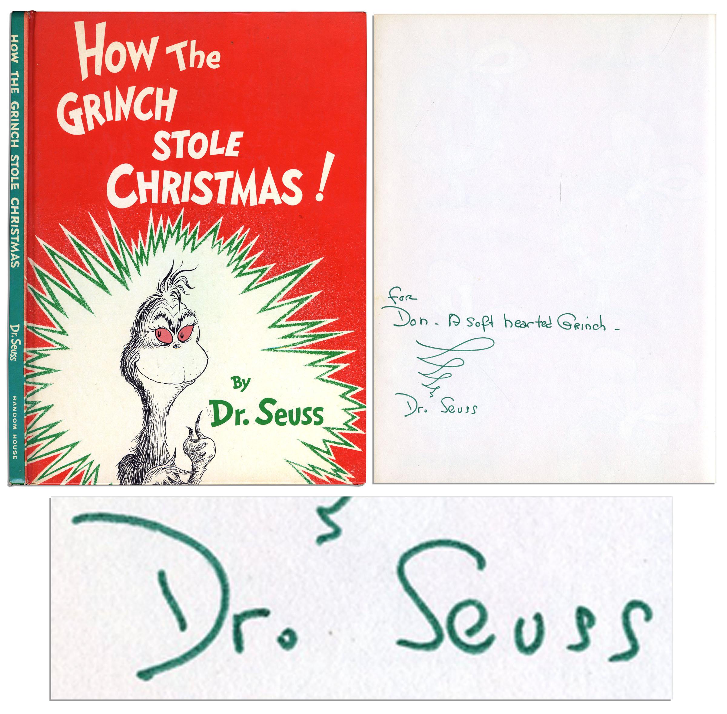Dr. Seuss Autograph ''How The Grinch Stole Christmas'' Signed by Dr. Seuss & With His Autograph Inscription