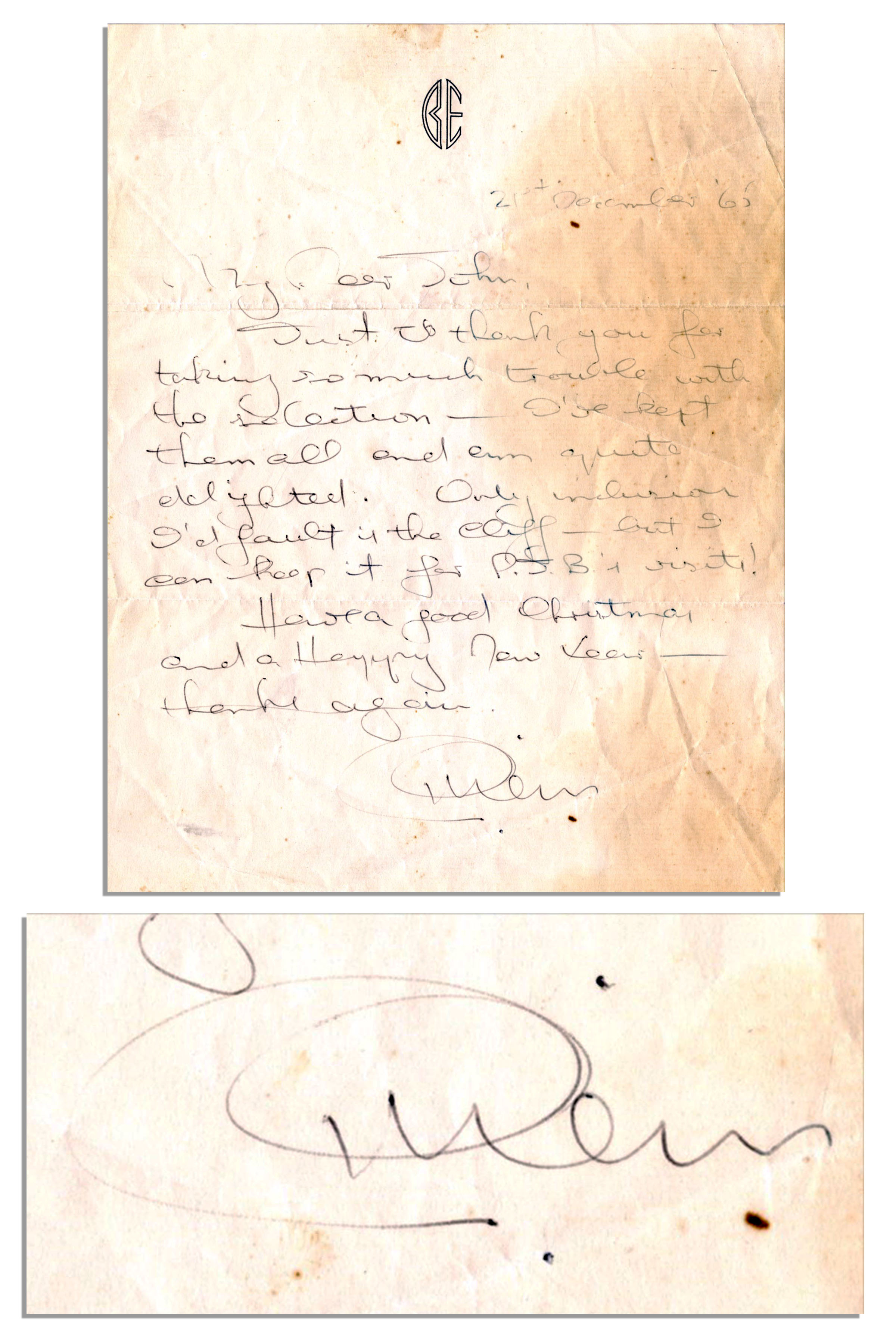 Beatles memorabilia Beatles Manager Brian Epstein Autograph Letter Signed to John Lennon -- ''...Just to thank you for taking so much trouble with the selection...'' -- 1965