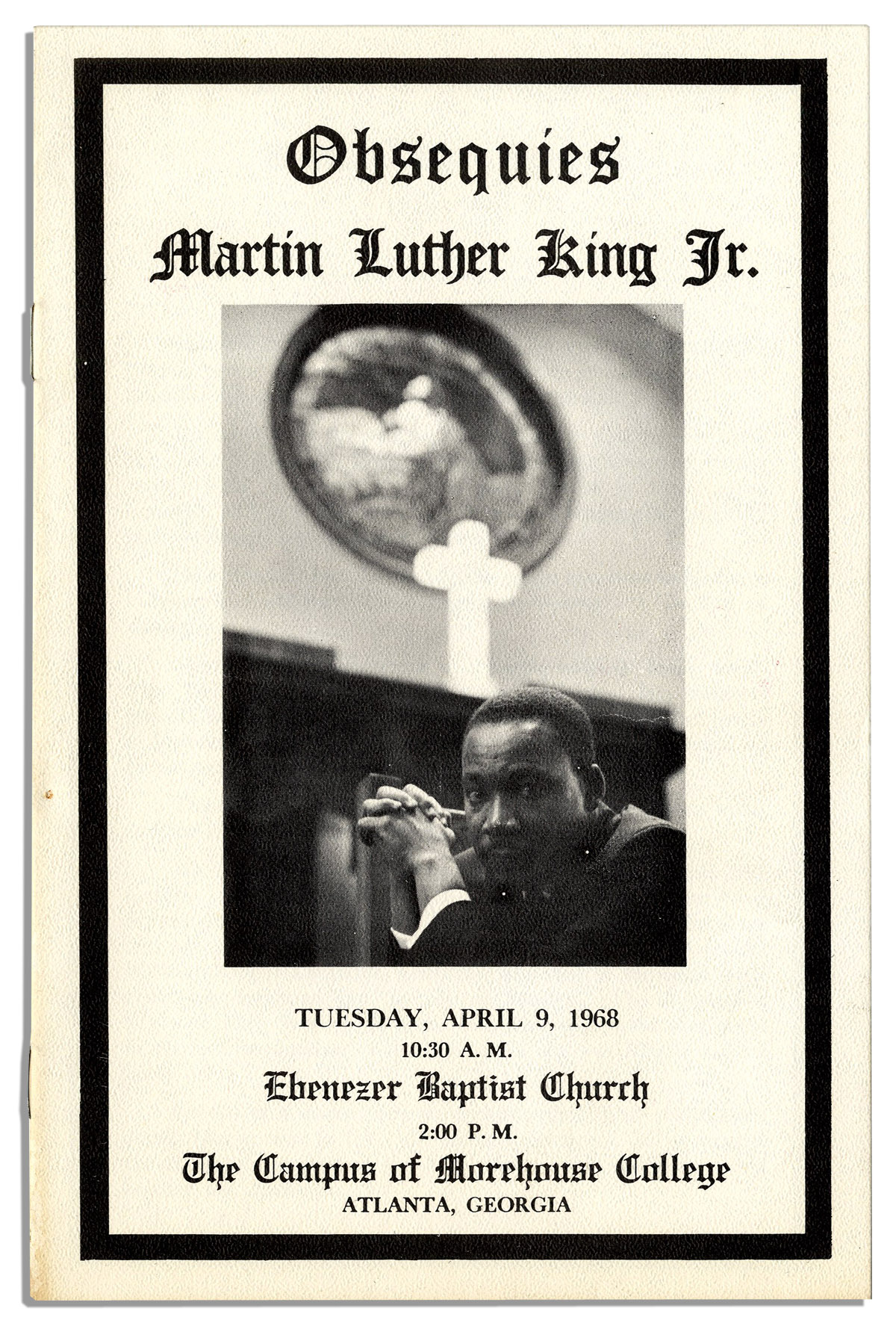 Obsequies Program From The Funeral Of Martin Luther King Substantial Booklet Consolidates His Most