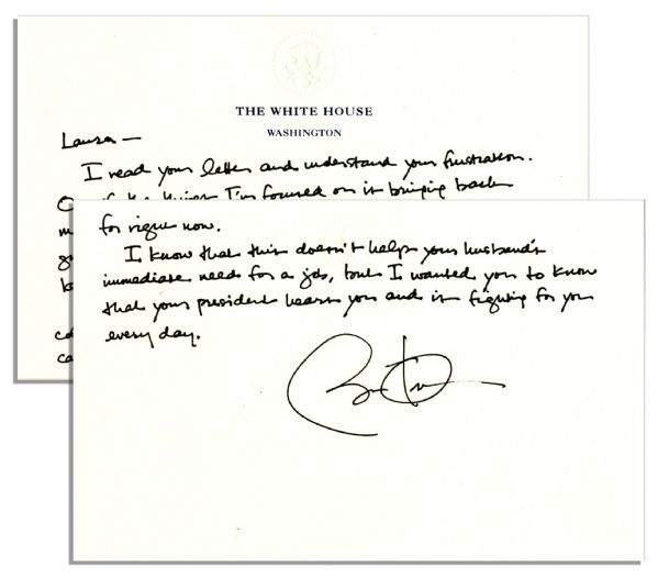 Barack Obama autograph Barack Obama Autograph Letter Signed as President on White House Stationery -- ''...I'm focused on...bringing manufacturing back to America...your President hears you...''