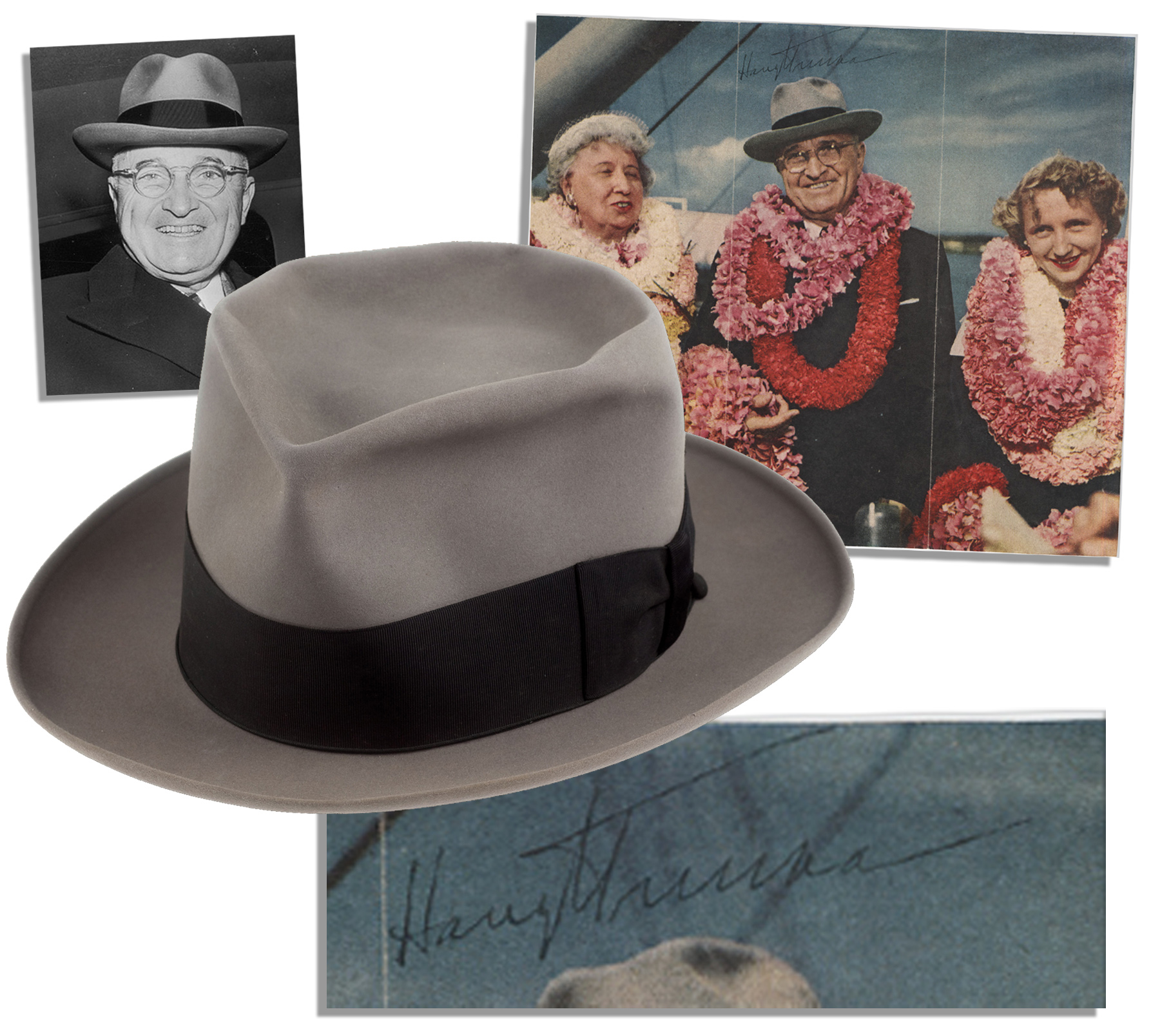 Harry Truman Memorabilia President Truman's Personally Owned & Worn Fedora -- With a Signed Photo of the President