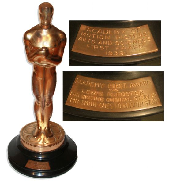 Oscar Awarded to Lewis R. Foster for Best Original Story in 1940 for the Classic ''Mr. Smith Goes to Washington''