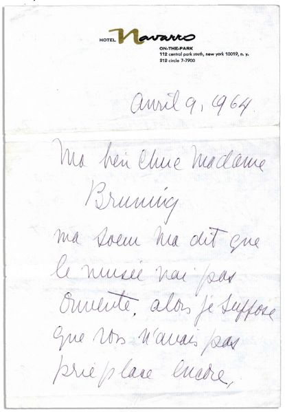 Josephine Baker Autograph Letter Signed -- ''...the cat can stay in the kitchen - pay attention to her that she does not chase the animals - birds, etc. Pay attention to Fifi as well...''
