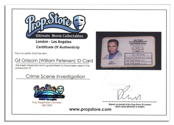 ID Prop Used in Production of 2012's Most Watched Television Show in the World, ''CSI: Crime Scene Investigation''  -- Lead Character Gil Grissom's ID Card