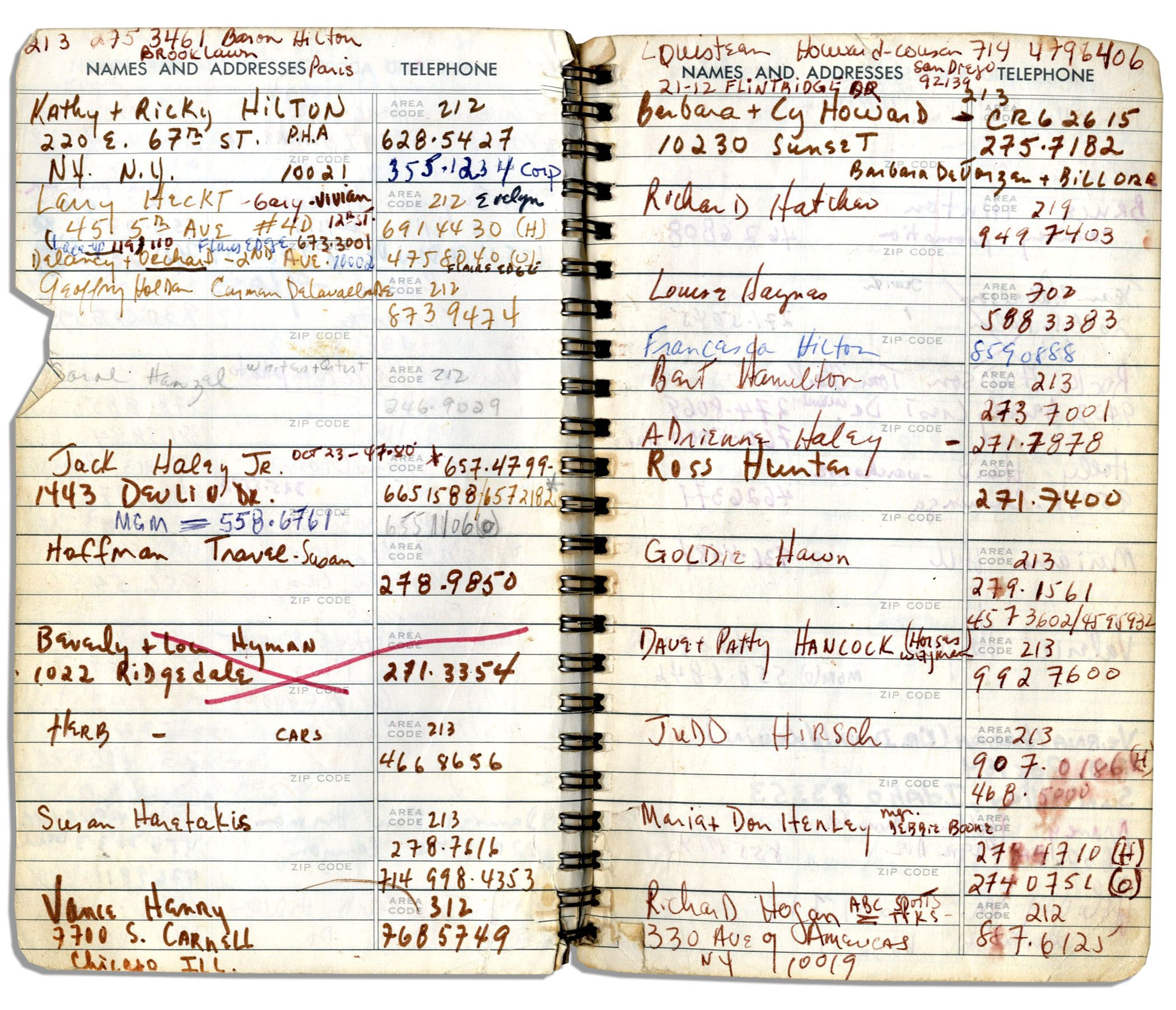 sammy davis jrs personal address book containing the names addresses of over