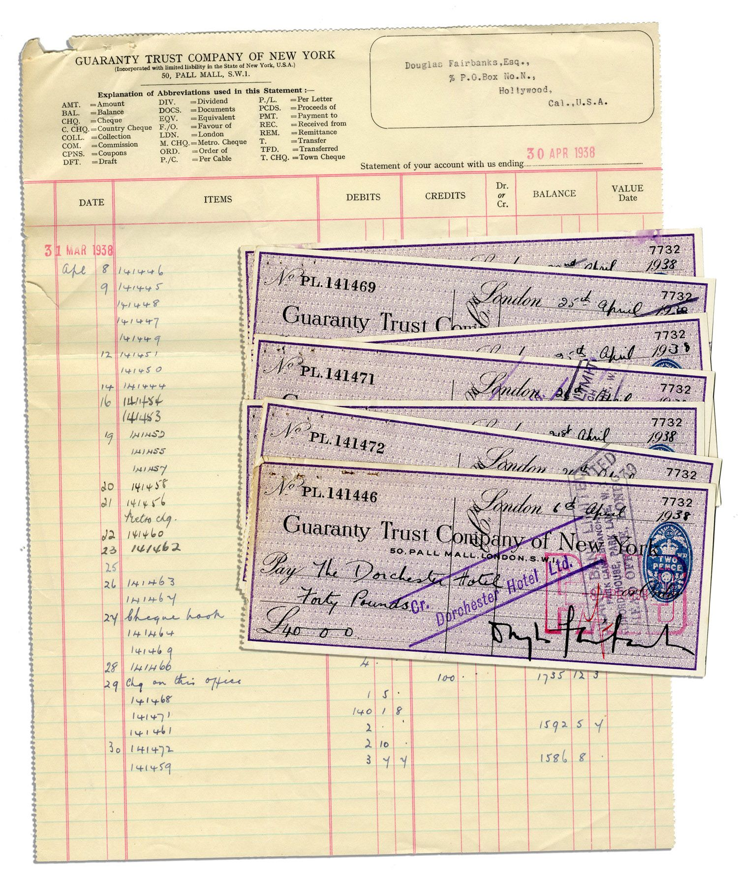 lot detail lot of 7 douglas fairbanks sr single signed checks