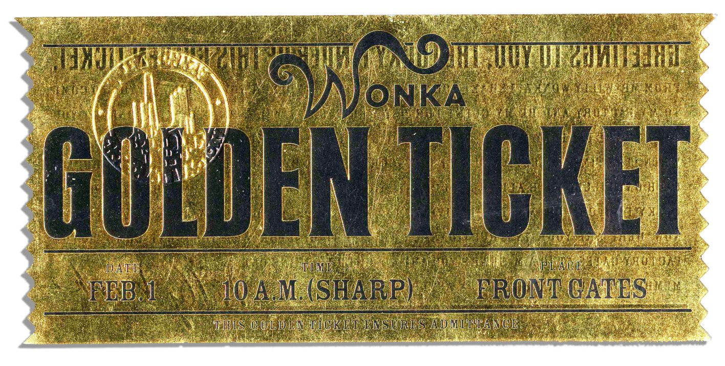 Lot Detail - Willy Wonka Prop Chocolate Bar & Golden Ticket ...