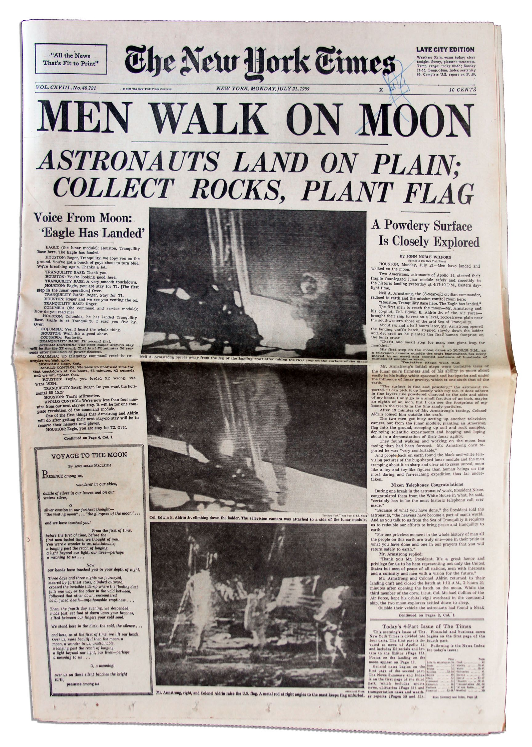 Lot Detail - Neil Armstrong Signed 21 July 1969 ''New York ...