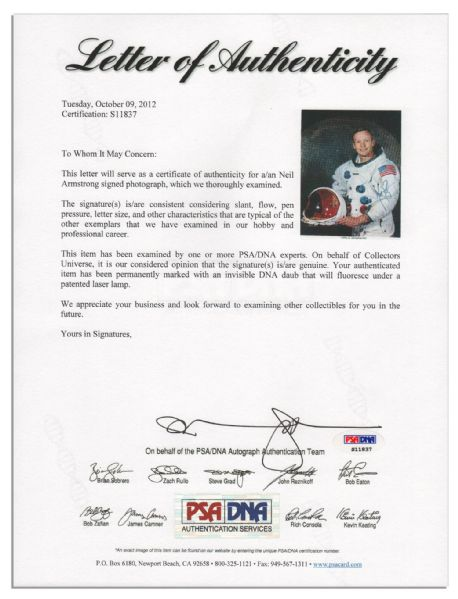 Neil Armstrong Signed 8'' x 10'' Photo -- Bold, Uninscribed Signature -- With PSA/DNA COA