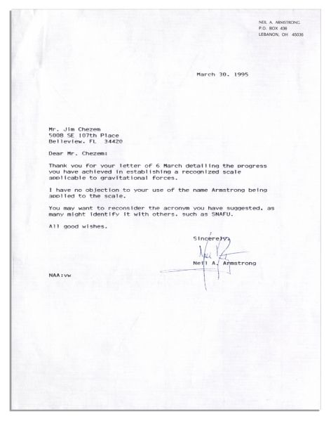 Lot Detail Neil Armstrong Typed Letter Signed I have no – Letter for No Objection