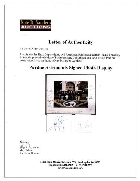 Astronaut Group Signed 20.25'' x 16'' Photo Display From the Estate of Gus Grissom --  Includes Neil Armstrong & Gene Cernan