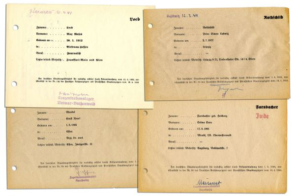 Collection of Four Nazi Concentration Camp Documents -- Each Identifying a Prisoner & Signed by a Nazi Official
