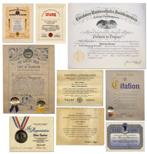 Lot of 11 Certificates Awarded to Captain Kangaroo's Bob Keeshan -- Spanning 1952 Through 1999