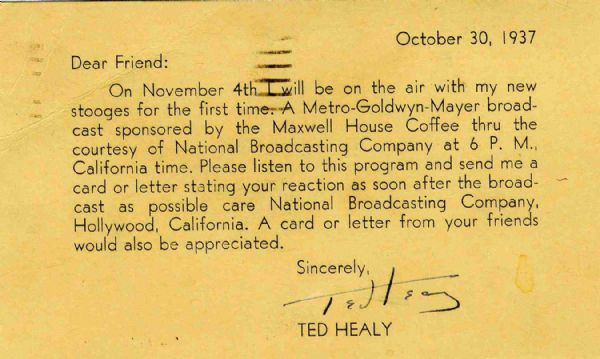 Ted Healy Signed Postcard -- 1937 -- ''...I will be on the air with my new Stooges for the first time...'' -- Near Fine