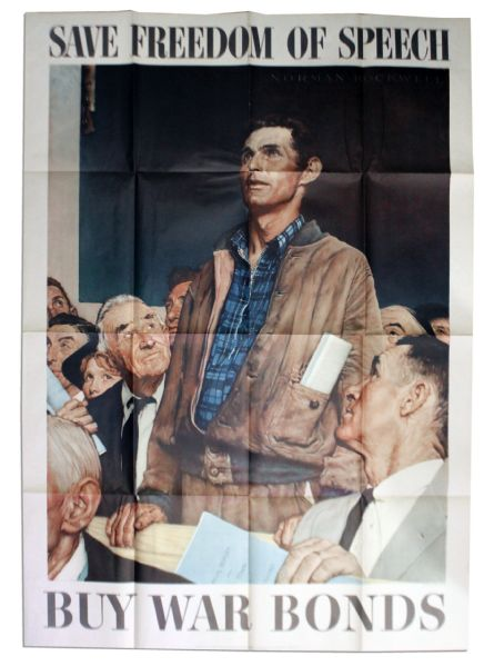 Norman Rockwell's 1943 World War II ''Four Freedoms'' Poster -- ''Freedom of Speech'' -- Larger Size Measuring 28'' x 40''