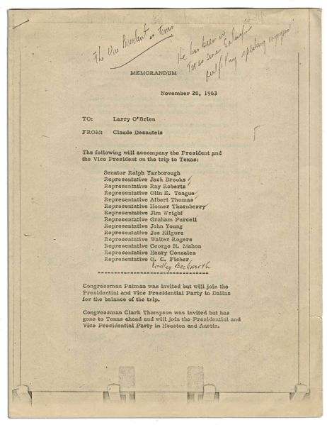 Notated Memo Regarding John F. Kennedy's November 1963 Trip to Texas -- Carried by Assistant Press Secretary Malcolm Kilduff