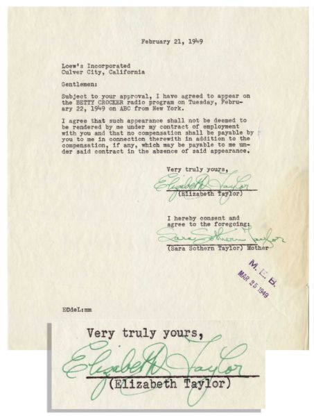 Scarce Elizabeth Taylor 1949 Contract Signed as a 17-Year Old -- Regarding a Betty Crocker Radio Program Appearance